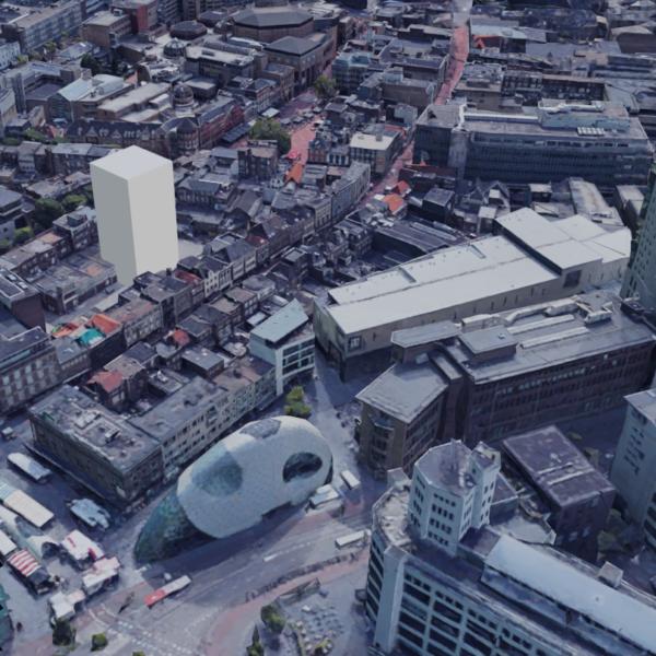 3D tekening van een 45m hoog bouwvolume bij de Demer